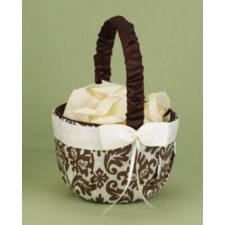 Elegant Damask Basket - Mocha and Ivory