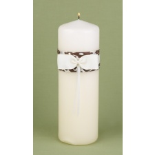 Elegant Damask Unity Candle - Mocha and Ivory
