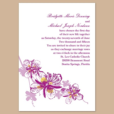 Orchids - Amethyst - Invitation