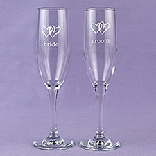 Swish Hearts Flutes - Personalized