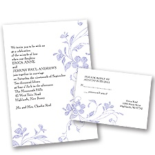 Pretty Floral - Grapevine - Invitation with Free Respond Postcard