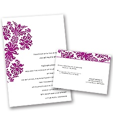 Dramatic Accent - Amethyst - Invitation with Free Respond Postcard