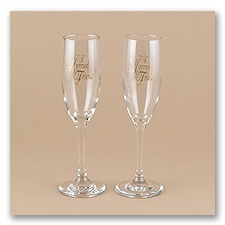 This Day... Toasting Flutes with Gold Design - Personalized