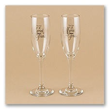 This Day... Toasting Flutes with Silver Design- Personalized