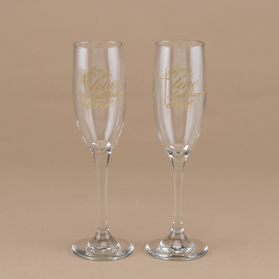 Two Become One Toasting Flutes - Personalized