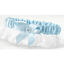 Heart and Rhinestone Garter - Blue - Full-Figure Garter