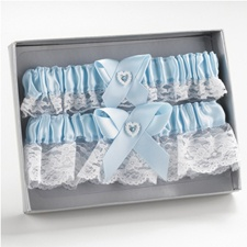 Blue Heart and Rhinestone Garter Set