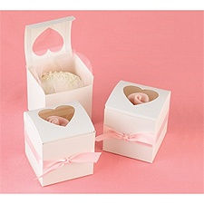Heart Window Cupcake Favor Boxes - White