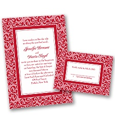 Filigree Frame - Barn Red - Invitation with Free Respond Card