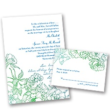 Sketched Flowers - Blue and Green - Invitation with Free Respond Card