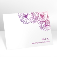 Sketched Flowers - Pink and Purple - Thank You Postcard