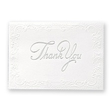 Bright White With Silver Foil Printed Thank You