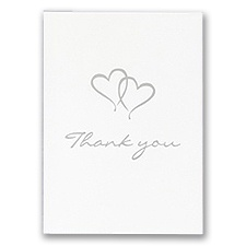 Personalized Thank You Card With Silver Foil Hearts