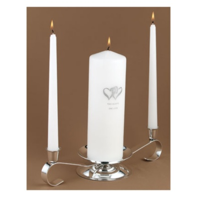 Silver Heart Candle Set