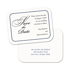 Simply Smooth Save the Date Postcard Navy