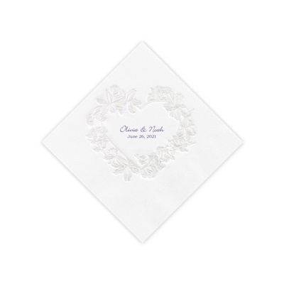 White Pearl Floral Heart Beverage Napkins