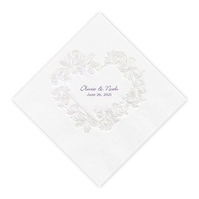 White Pearl Floral Heart Luncheon Napkin