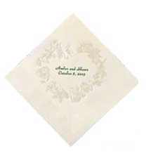 Ecru Pearl Floral Heart Cocktail Napkin
