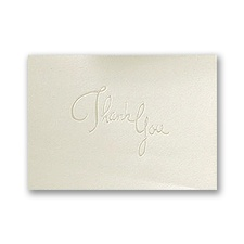 Pearl Embossed Thank You On Ecru - Blank