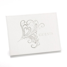 Silver Heart Flourish Guest Book
