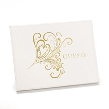 Gold Heart Flourish Guest Book
