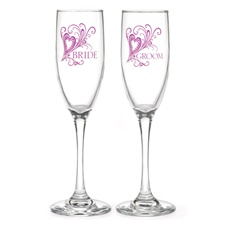 Purple Heart Flourish Toasting Flutes
