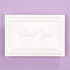 Pearl Filigree Border Thank You Note - Blank
