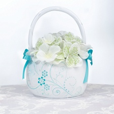 Aqua Flowers Basket