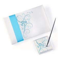 Aqua Flowers Guest Book and Pen Set