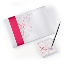 Pink Flowers Guest Book and Pen Set