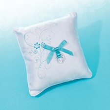 Aqua Flowers Ring Pillow