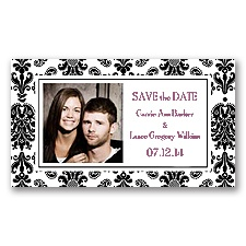 Damask Border - Black - Photo  Save the Date Magnet
