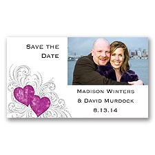 Hearts and Flourishes - Amethyst- Photo Save the Date Magnet