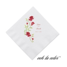 Watercolor Roses - Scarlet - Cocktail Napkin