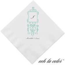Framed Monogram - Lagoon - Dinner Napkin