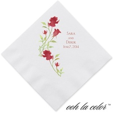 Watercolor Roses - Scarlet - Dinner Napkin