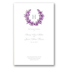 Floral Crest - Grapevine - Wedding Program
