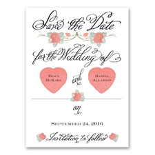Rosy Romance - Save the Date Card