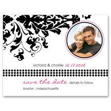 Damask Corner - Photo Save the Date Card