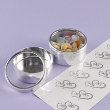 Clear Top Favor Tins with Heart Seals