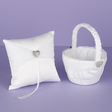 Rhinestone Heart Pillow and Basket Set