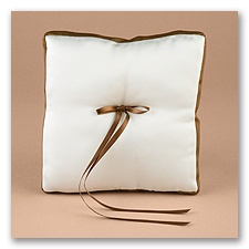 Chocolate/Ecru Without Monogram Ribbon Trim Pillow