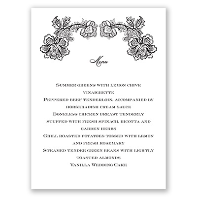 Lacy Whisper - Menu Card