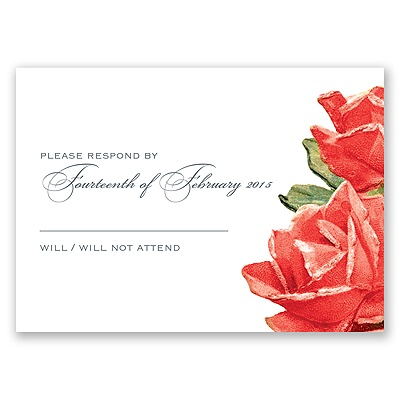 Sentimental Roses - Red - Response Card and Envelope