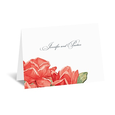 Sentimental Roses - Red - Thank You Note and Envelope
