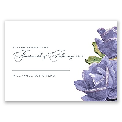 Sentimental Roses - Purple - Response Card and Envelope