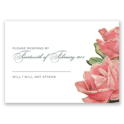 Sentimental Roses - Pink - Response Card and Envelope