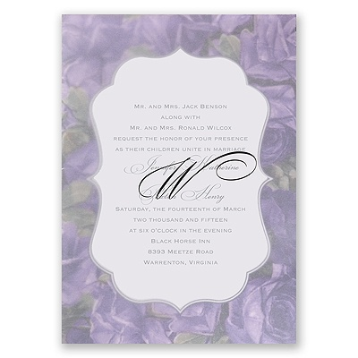 Sentimental Roses - Purple - Invitation