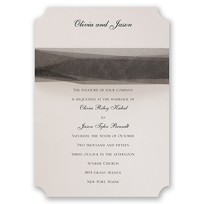 Ecru Modern Veil - Black Tulle  - Invitation