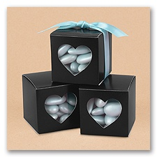 Heart Window Favor Boxes - Black